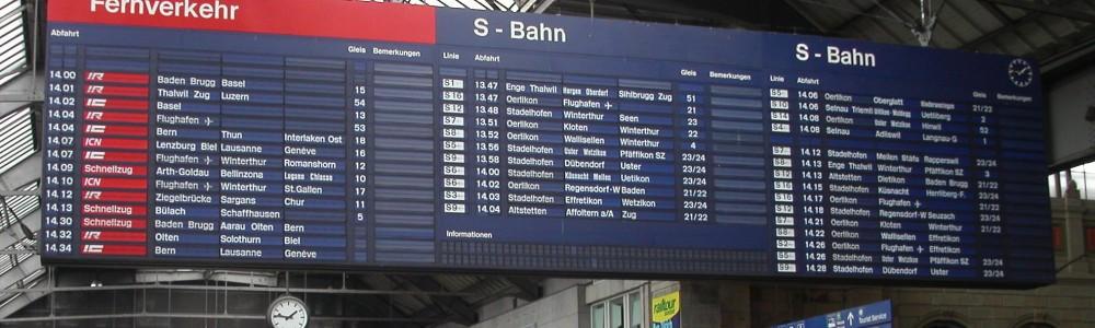 Panneau horaires SBB_Zurich