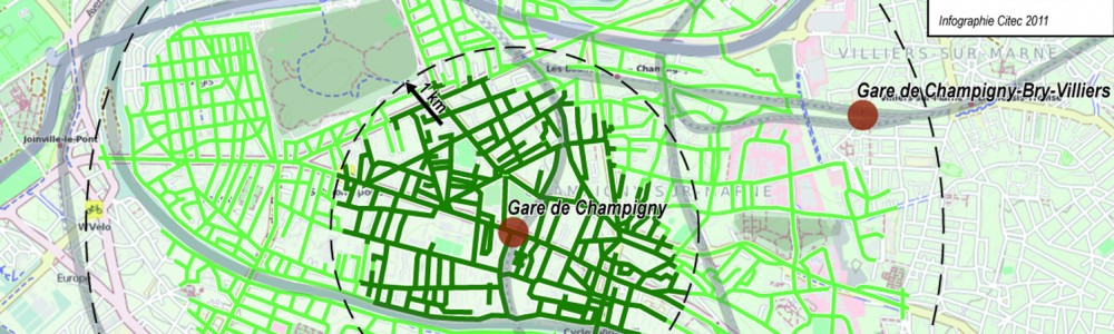 Isochrones vélo Champigny
